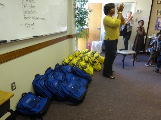 Crystal Gibson, workshop facilitator presenting the workshop bookbags